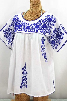 """Lijera Libre"" Plus Size Embroidered Mexican Blouse - White + Blue"