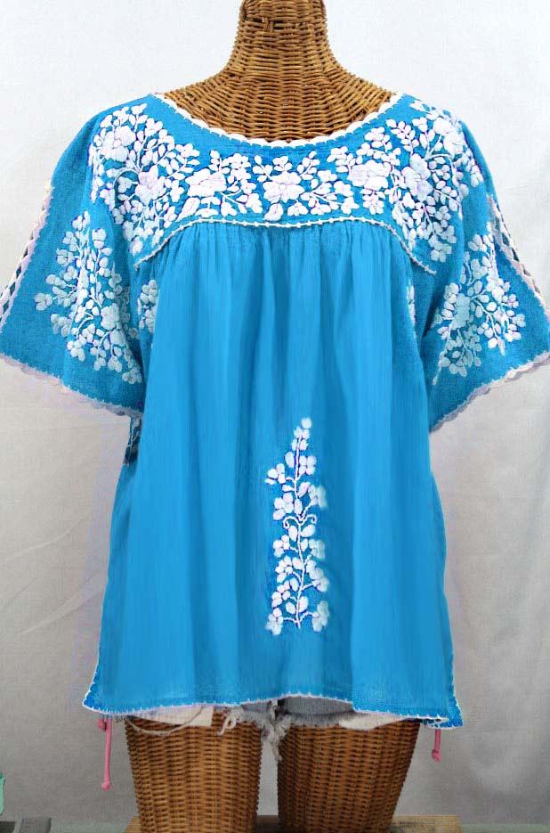 """""""Lijera Libre"""" Plus Size Embroidered Mexican Blouse - Aqua + White"""