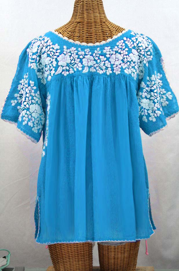 """Lijera Libre"" Plus Size Embroidered Mexican Blouse - Aqua + White"