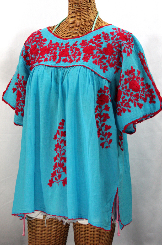 """Lijera Libre"" Plus Size Embroidered Mexican Peasant Top -Aqua + Red"