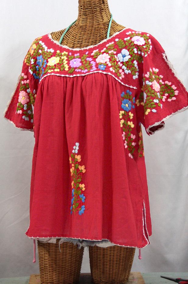 """Lijera Libre"" Plus Size Embroidered Mexican Peasant Top -Tomato Red"