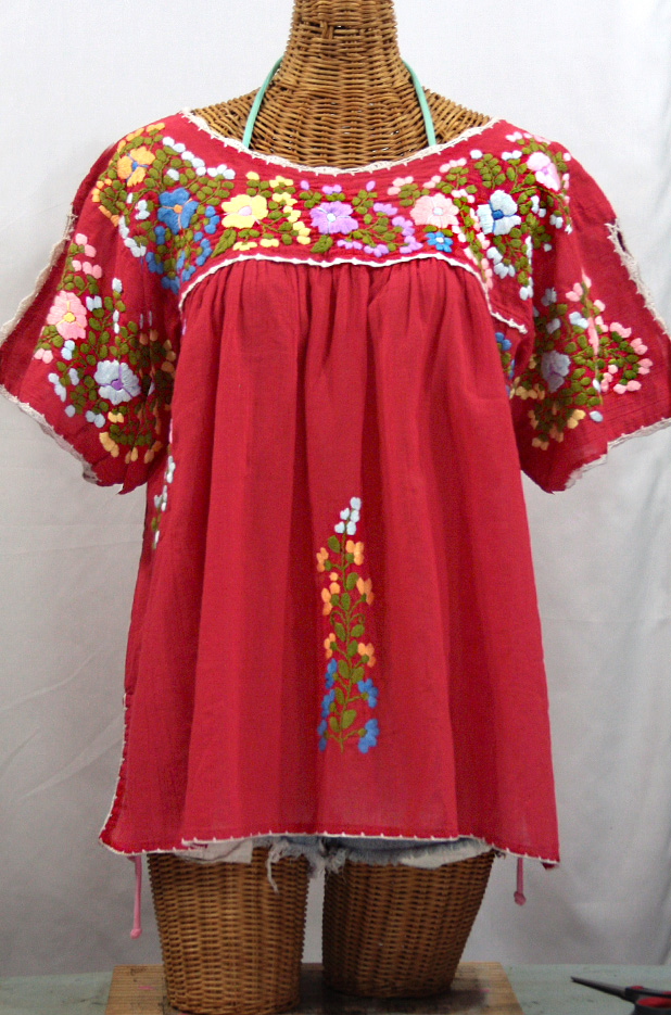"""Lijera Libre"" Plus Size Embroidered Mexican Peasant Top -Tomato Red"