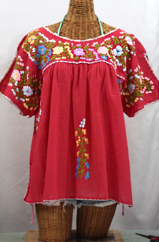 """""""Lijera Libre"""" Plus Size Embroidered Mexican Peasant Top -Tomato Red + Multi"""