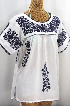 """Lijera Libre"" Plus Size Embroidered Mexican Blouse - White + Navy"