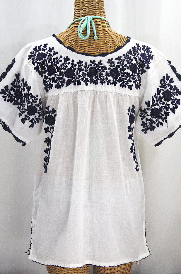 """""""Lijera Libre"""" Plus Size Embroidered Mexican Blouse - White + Navy"""