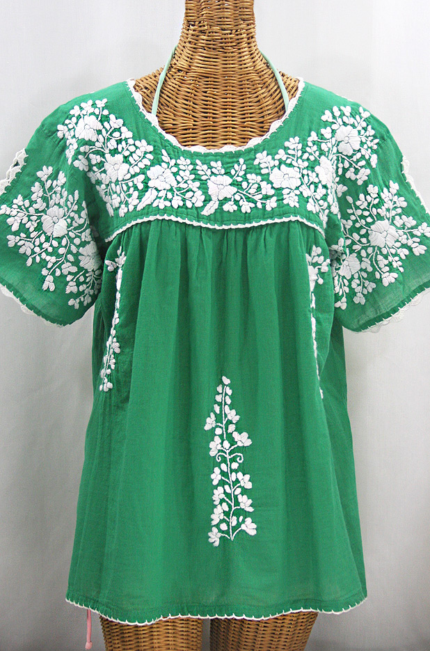 """""""Lijera Libre"""" Plus Size Embroidered Mexican Blouse - Green + White"""