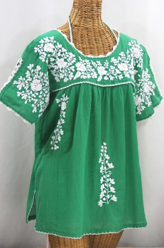"""Lijera Libre"" Plus Size Embroidered Mexican Blouse - Green + White"