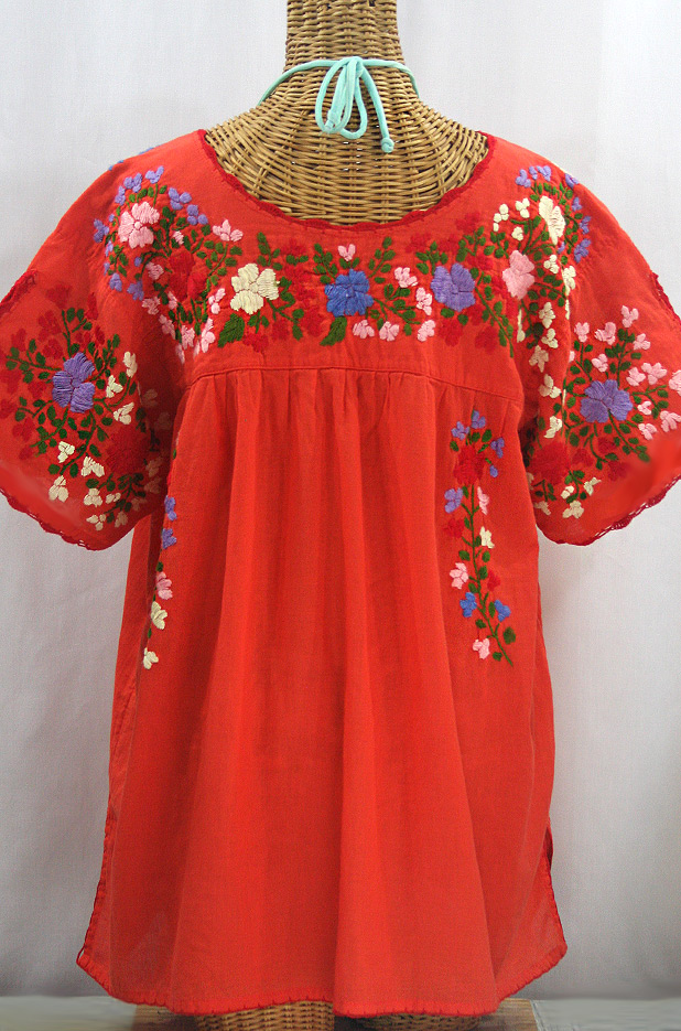 """""""Lijera Libre"""" Plus Size Embroidered Mexican Blouse - Orange + Multi"""