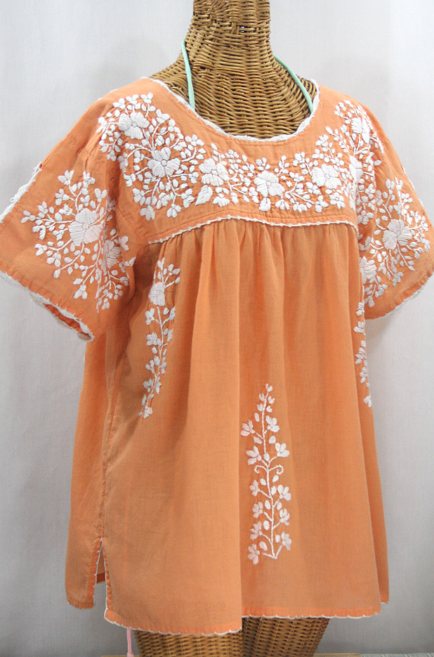 """""""Lijera Libre"""" Plus Size Embroidered Mexican Blouse - Orange Cream + White"""