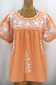 """Final Sale 40% Off -- """"Lijera Libre"""" Plus Size Embroidered Mexican Blouse - Orange Cream + White"""