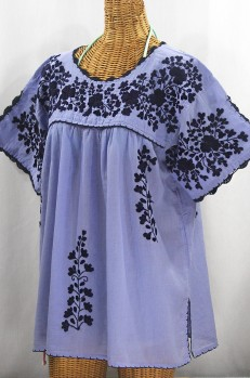 """Lijera Libre"" Plus Size Embroidered Mexican Blouse - Periwinkle + Navy"