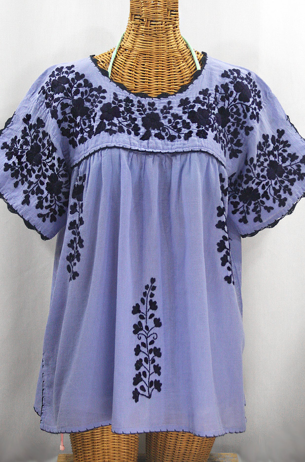 """""""Lijera Libre"""" Plus Size Embroidered Mexican Blouse - Periwinkle + Navy"""