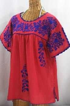 """Lijera Libre"" Plus Size Embroidered Mexican Blouse - Tomato Red + Blue"
