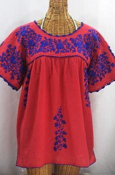 """Lijera Libre"" Plus Size Embroidered Mexican Blouse - Tomato Red + Blue"