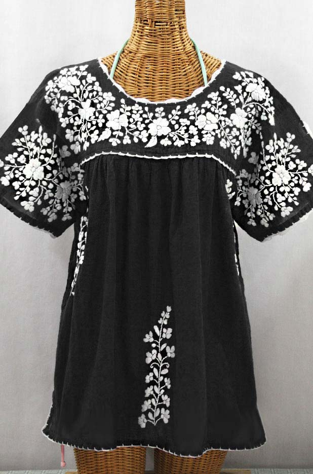 """Lijera Libre"" Plus Size Embroidered Mexican Blouse - Black + White"