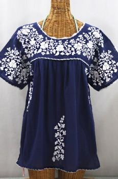 """""""Lijera Libre"""" Plus Size Embroidered Mexican Blouse - Denim + White"""