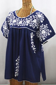 """Lijera Libre"" Plus Size Embroidered Mexican Blouse - Denim + White"