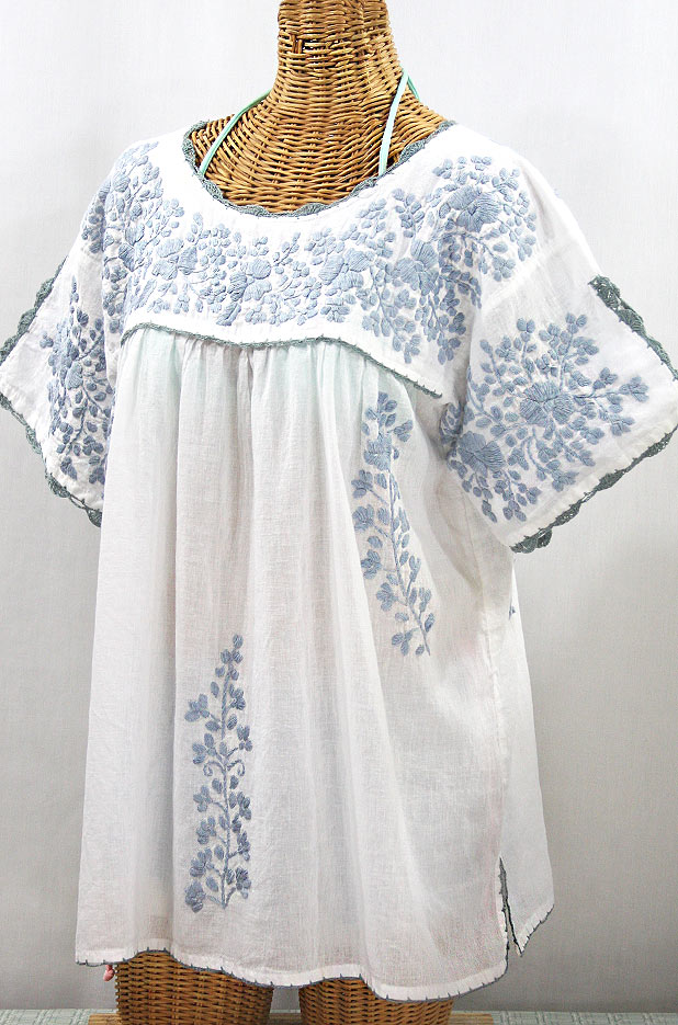 """Lijera Libre"" Plus Size Embroidered Mexican Blouse - White + Grey"