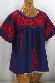 """Lijera Libre"" Plus Size Embroidered Mexican Blouse - Denim + Red"