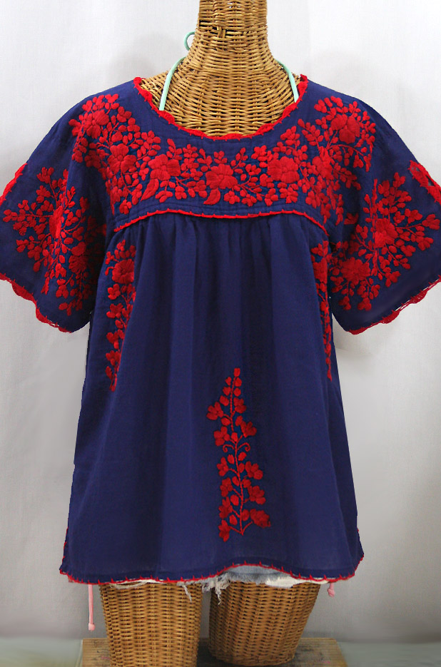 """""""Lijera Libre"""" Plus Size Embroidered Mexican Blouse - Denim + Red"""
