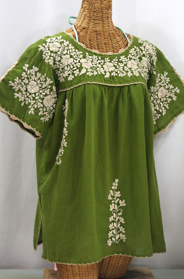 """Lijera Libre"" Plus Size Embroidered Mexican Blouse - Fern Green + Cream"
