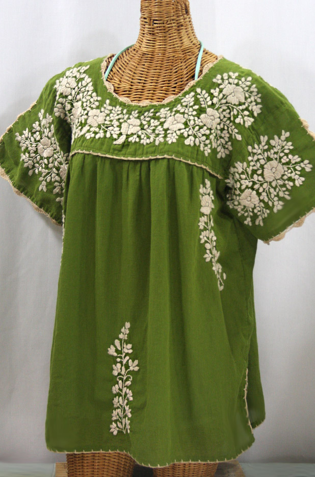"""Lijera Libre"" Plus Size Embroidered Mexican Blouse - Fern Green + Cream"