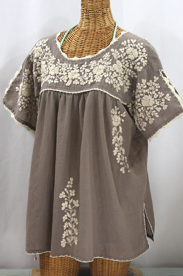 """Lijera Libre"" Plus Size Embroidered Mexican Blouse - Fog Grey + Cream"