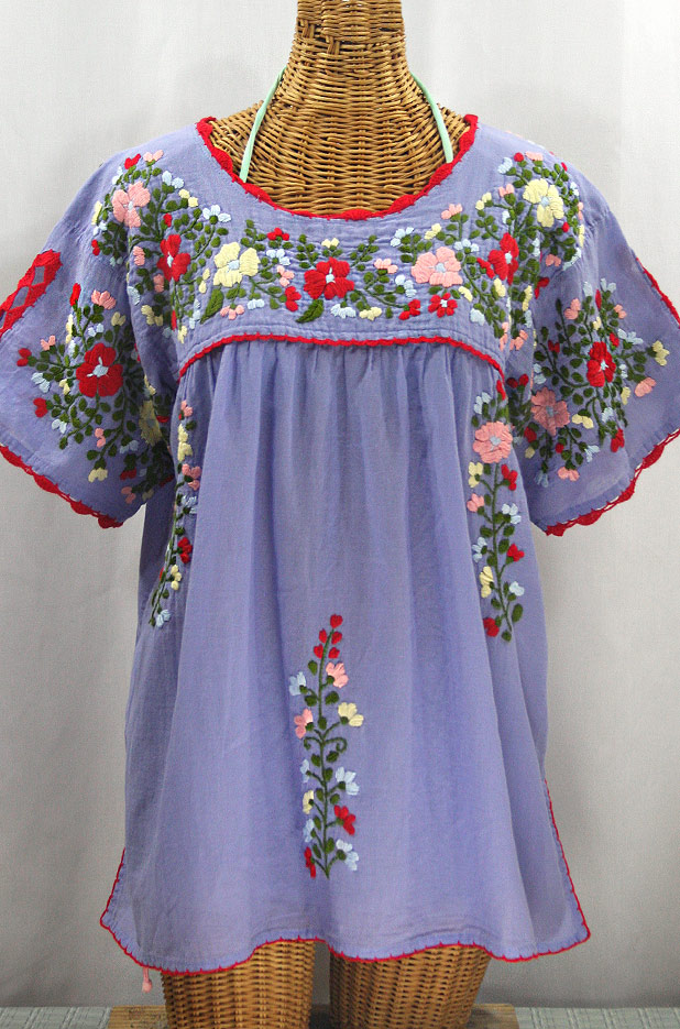 """Lijera Libre"" Plus Size Embroidered Mexican Blouse - Periwinkle + Multi"