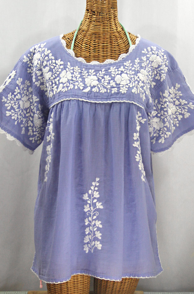 """Lijera Libre"" Plus Size Embroidered Mexican Blouse - Periwinkle + White"