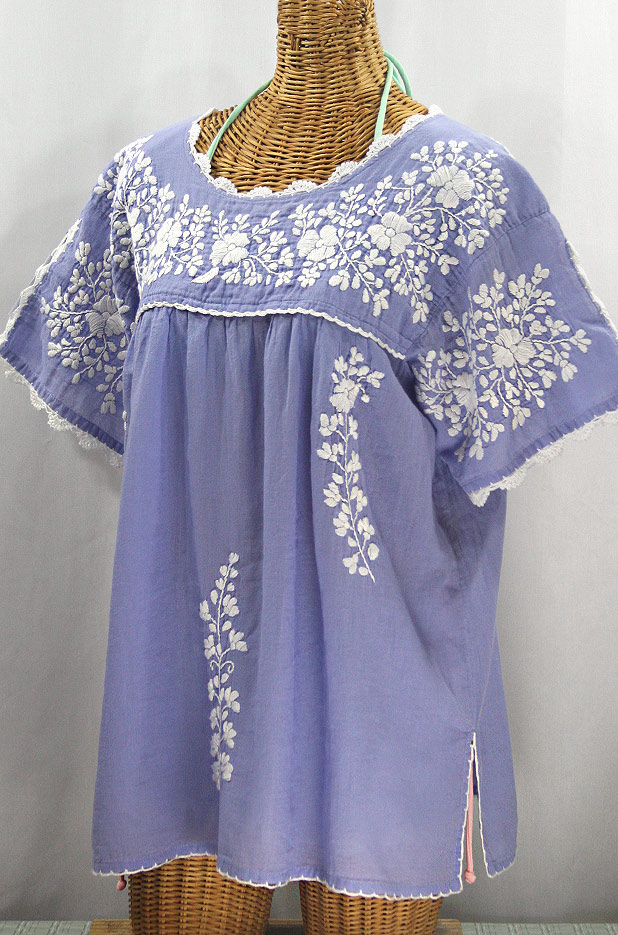 """""""Lijera Libre"""" Plus Size Embroidered Mexican Blouse - Periwinkle + White"""