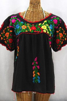 """Lijera Libre"" Plus Size Embroidered Mexican Blouse - Black + Rainbow"