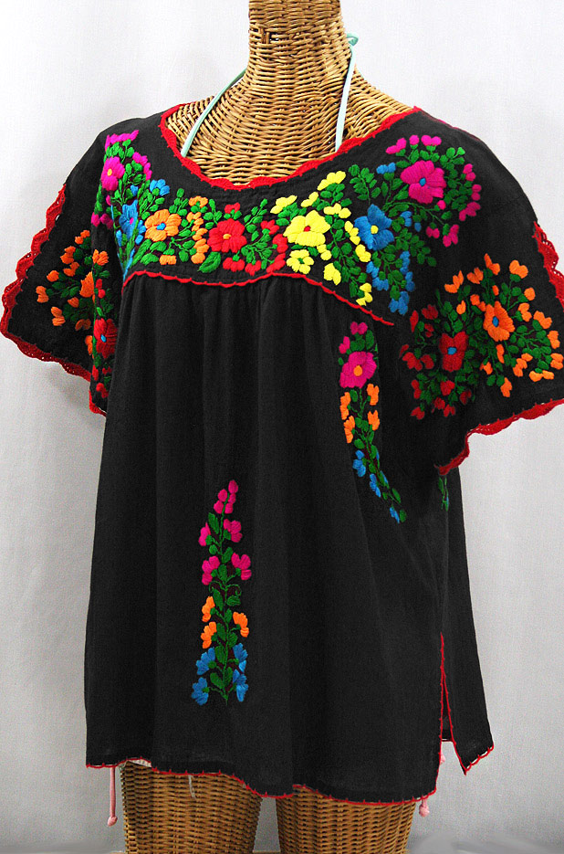 """""""Lijera Libre"""" Plus Size Embroidered Mexican Blouse - Black + Rainbow"""