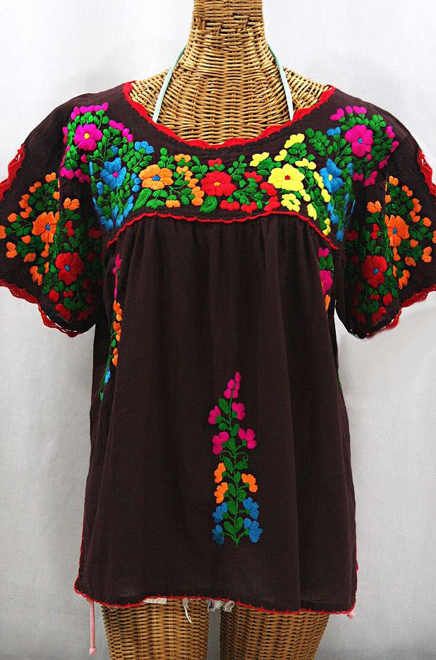 """""""Lijera Libre"""" Plus Size Embroidered Peasant Top -Brown + Rainbow"""