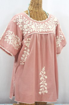"""Lijera Libre"" Plus Size Embroidered Mexican Blouse - Dusty Light Pink + Cream"