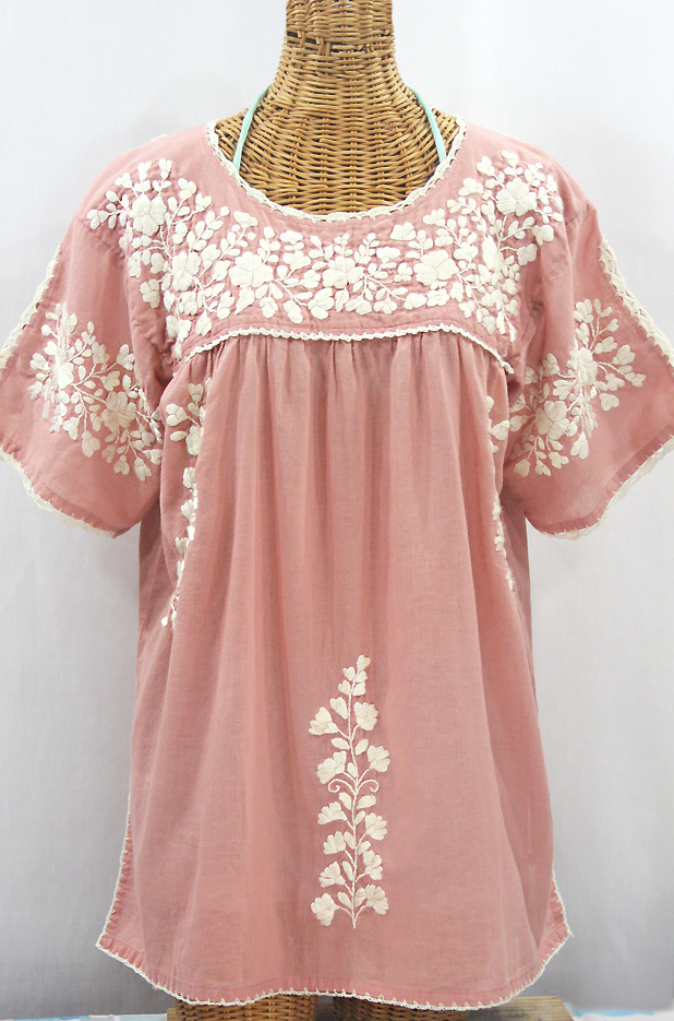 """""""Lijera Libre"""" Plus Size Embroidered Mexican Blouse - Dusty Light Pink + Cream"""