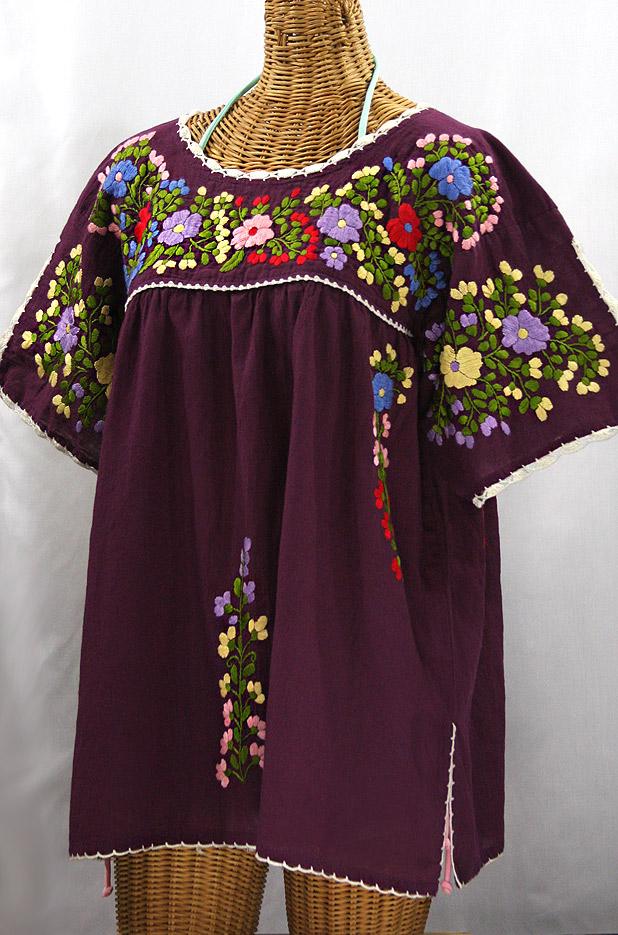 """Lijera Libre"" Plus Size Embroidered Peasant Top - Plum + Multi"