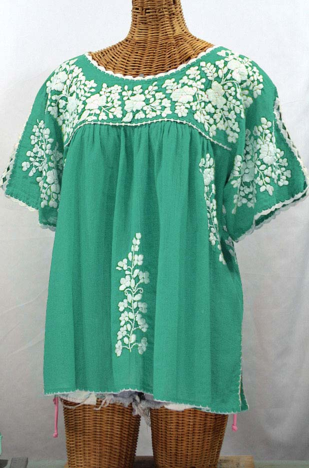 """Lijera Libre"" Plus Size Embroidered Mexican Blouse - Mint + White"