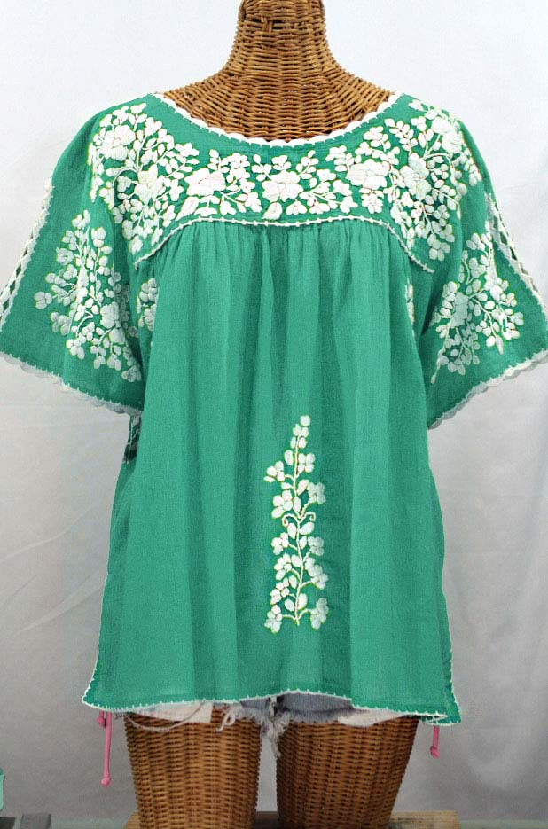 "Final Sale 40% Off -- ""Lijera Libre"" Plus Size Embroidered Mexican Blouse - Mint + White"