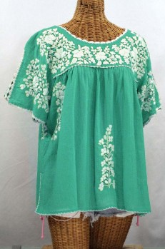"""Final Sale 40% Off -- """"Lijera Libre"""" Plus Size Embroidered Mexican Blouse - Mint + White"""