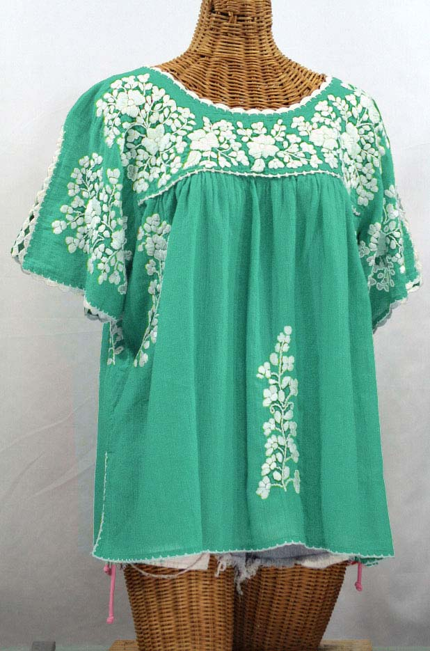 """""""Lijera Libre"""" Plus Size Embroidered Mexican Blouse - Mint + White"""