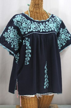 """""""Lijera Libre"""" Plus Size Embroidered Mexican Blouse - Navy + Neon Blue"""