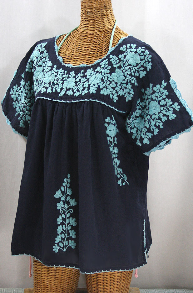 """Lijera Libre"" Plus Size Embroidered Mexican Blouse - Navy + Neon Blue"