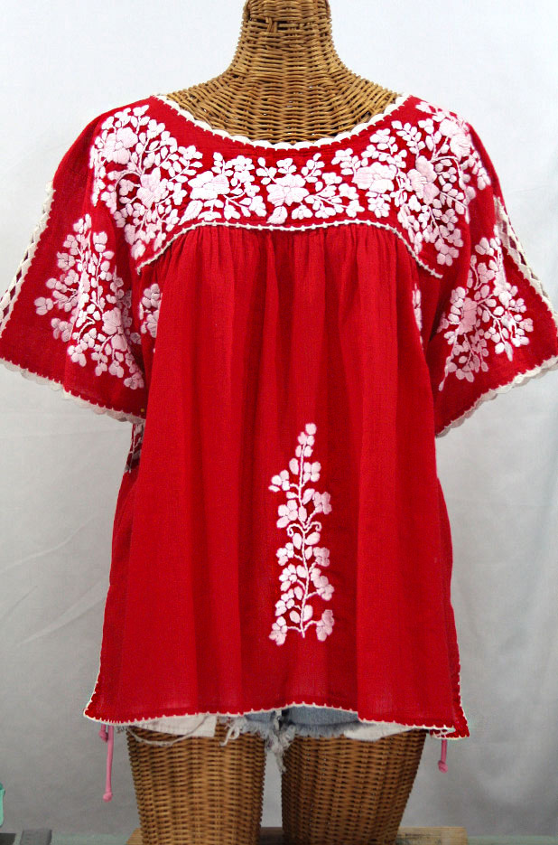 """Lijera Libre"" Plus Size Embroidered Mexican Blouse - Red + White"
