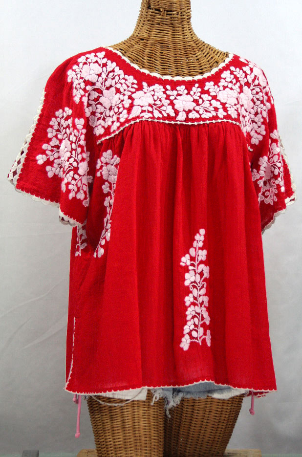 """""""Lijera Libre"""" Plus Size Embroidered Mexican Blouse - Red + White"""