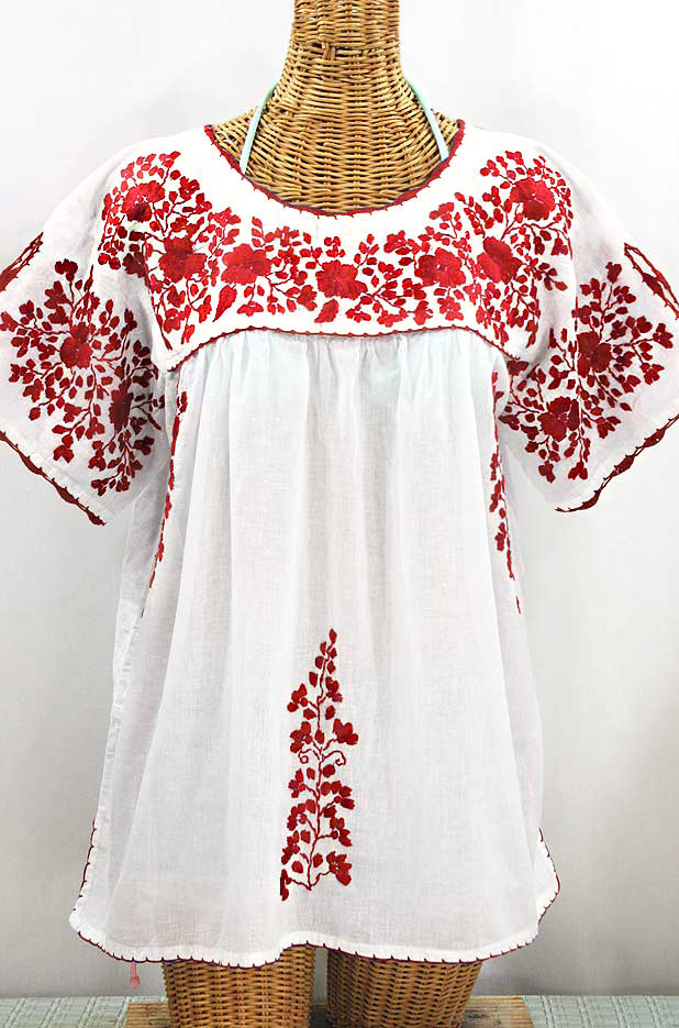 """""""Lijera Libre"""" Plus Size Embroidered Mexican Blouse - White + Red"""
