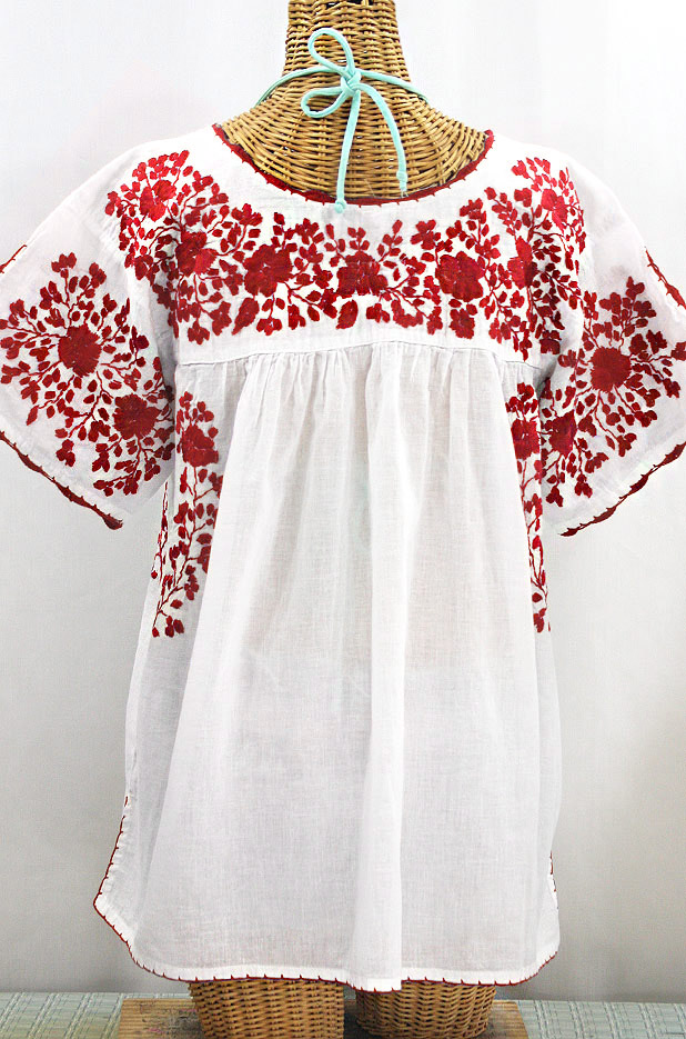 """Lijera Libre"" Plus Size Embroidered Mexican Blouse - White + Red"