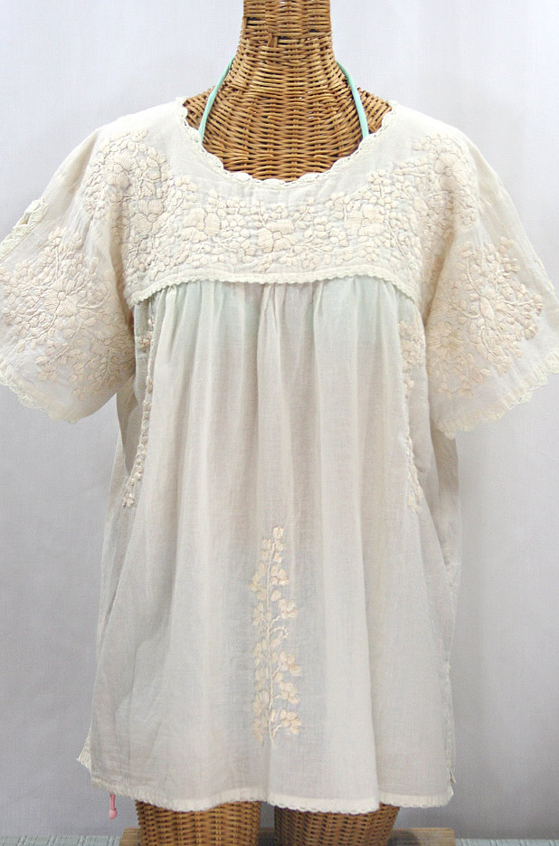 """Lijera Libre"" Plus Size Embroidered Mexican Blouse - All Off White"