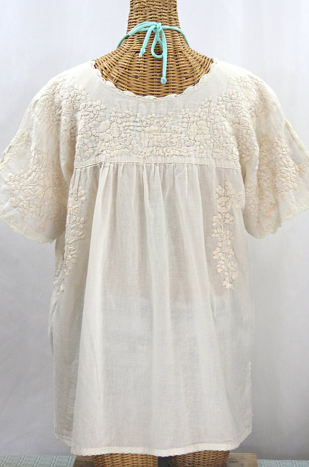 """""""Lijera Libre"""" Plus Size Embroidered Mexican Blouse - All Off White"""