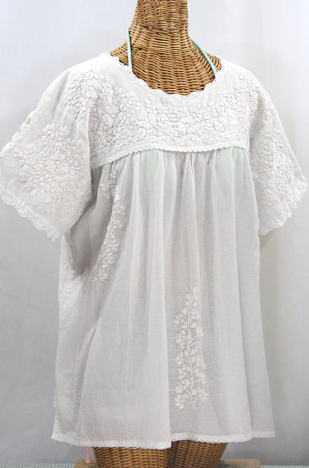 """Lijera Libre"" Plus Size Embroidered Mexican Blouse - All White"