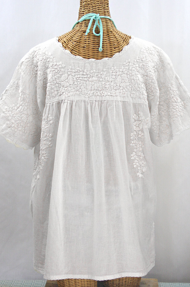 """""""Lijera Libre"""" Plus Size Embroidered Mexican Blouse - All White"""